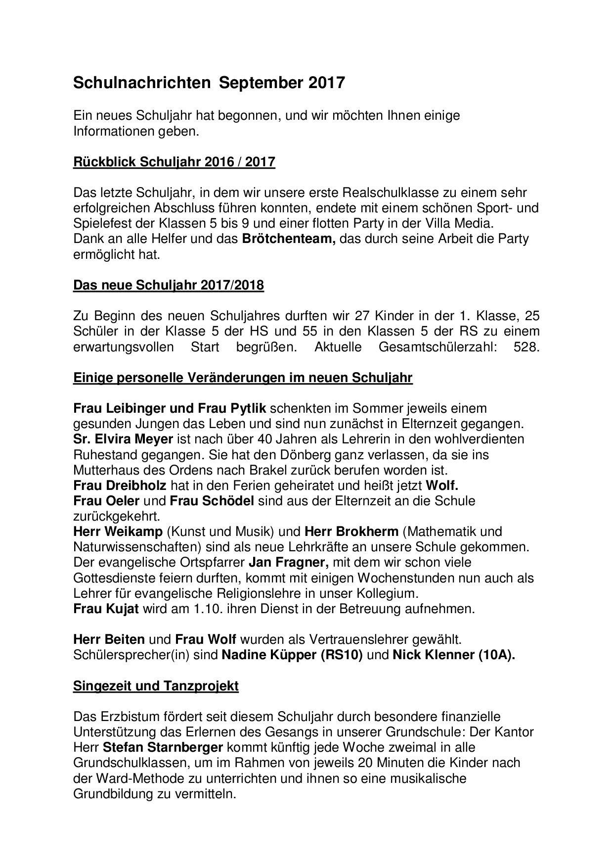 Schulnachrichten - Tagesschule Dönberg -